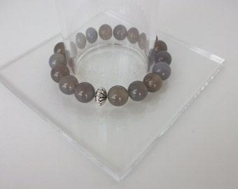 Gemstone Beaded Bracelet Grey Agate Beaded Bracelet Beaded Gemstone Stretch Bracelet Gray Agate Stacking Bracelet Gemstone Stack B0153