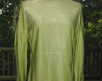 SALE: 60s Alfred Shaheen Shirt Blouse, Vintage Shimmery Chartreuse Peridot Green Formal Blouse with Covered Buttons Size M Medium