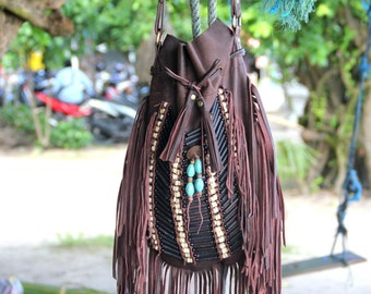 Boho leather fringed bag, large size,  antique brown, bohemian bag