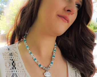 Large Opal and silver necklace