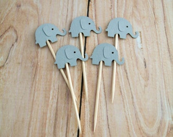 Gray Elephant Cupcake Toppers, Grey Elephant Baby Shower Cupcake Toppers, Birthday Party Cupcake Toppers, Baby Party Picks, Cake Decorations