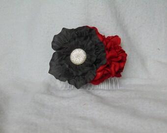 Flower Hair Comb - Black Hair Comb - Red Hair Comb - Bridal Hair Piece - Red Hair Piece - Black Hair Piece - Flower Hair Piece