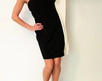 CLEARANCE...! Mod Mad Men Megan Draper Style 60s 70s One Shoulder B&W Color Block Shift Sheath Dress US 6