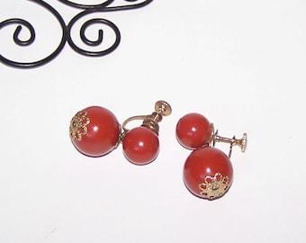 Red Earrings -  Dangle / Drop / Brick Red / Indian Red / Burnt Orange / Rust - Ear Bob