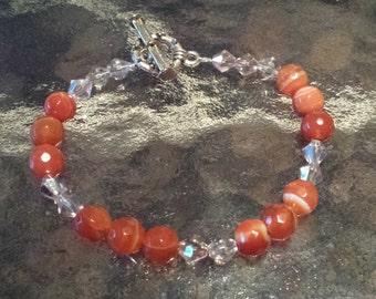 Bracelet Aurora Borealis Crystals + Agate Red Beads Healing  D243-4