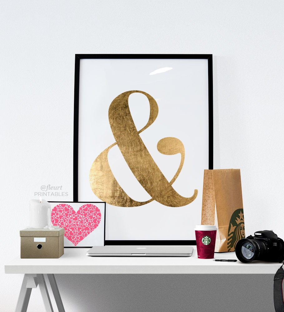 Printable wall art quote gold ampersand wall decor for Ampersand decor