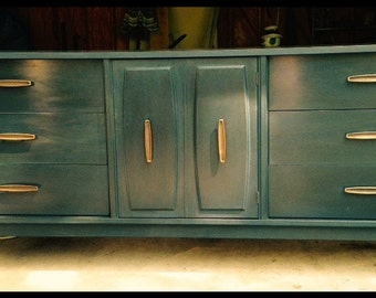 SOLD - Gorgeous Navy Mid Century Modern Dresser / Buffet / Changing Table