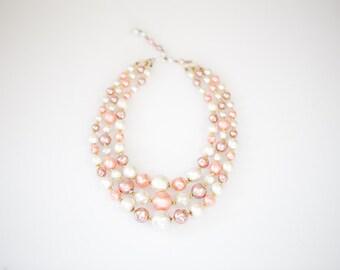 Gorgeous 3 Stranded Vintage Coral Necklace