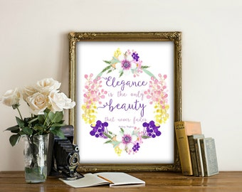 80% OFF SALE  Printable art, Audrey Hepburn quote, Elegance Is The Only Beauty That Never Fades,