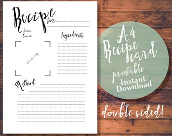 Printable A4 Recipe Card/Sheet - Black and White Calligraphic Style, Stylish Chic Vintage Double Sided PDF Cards - Instant Download
