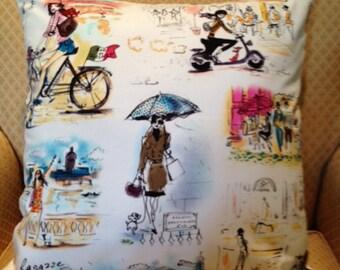 Cream Pillow Cover with Paris Scenes