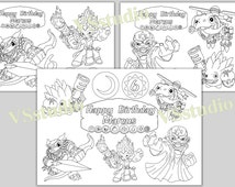 Skylanders Birthday Party Printable Personalized coloring pages-PDF