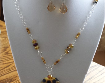 Lamp work bead necklace with earrings