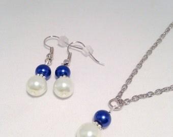 Sapphire Bridesmaid necklace set, Sapphire necklace set, Sapphire bridesmaid jewelry, Sapphire necklace, pearl necklace, blue bridesmaid
