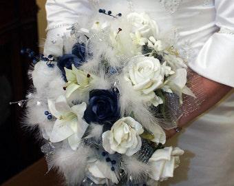 winter wonderland blue wedding bouquet