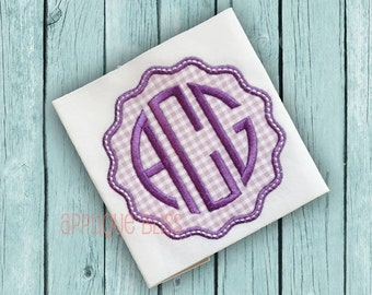 Wavy Frame Digital Applique Design - Cirle Monogram -  Monogram - Font - Machine Embroidery