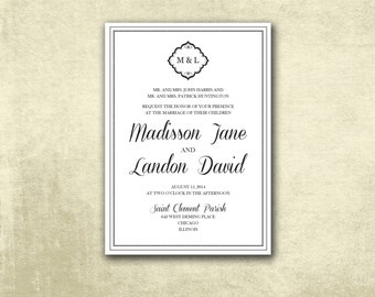 Printable Wedding Invitation ONLY PDF Instant Download - Elegant Traditional Black and White Monogram and Frame (Choose Your Text Colors!)