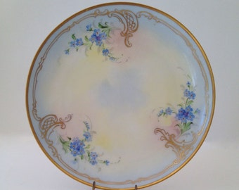 Antique Blue Flowered Porcelain Plate