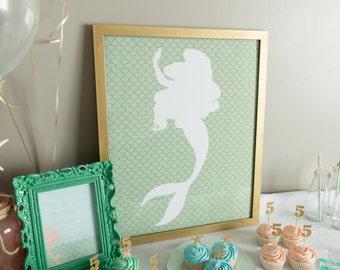 Mermaid Poster, Under the sea birthday