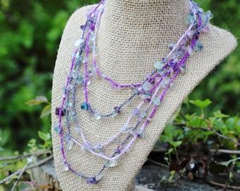 Purple Ombre Fluorite Chip Crochet Wraparound Layering Necklace