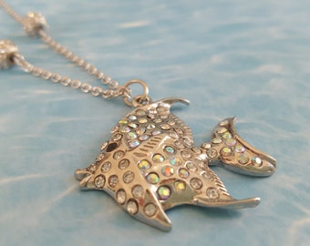 Sealife, Nautical, 1.25 Inches Fish Pendant Necklace, Silver Metal and Rhinestones on 18 Inch Silver Chain + Rhinestone Balls +Lobster Clasp