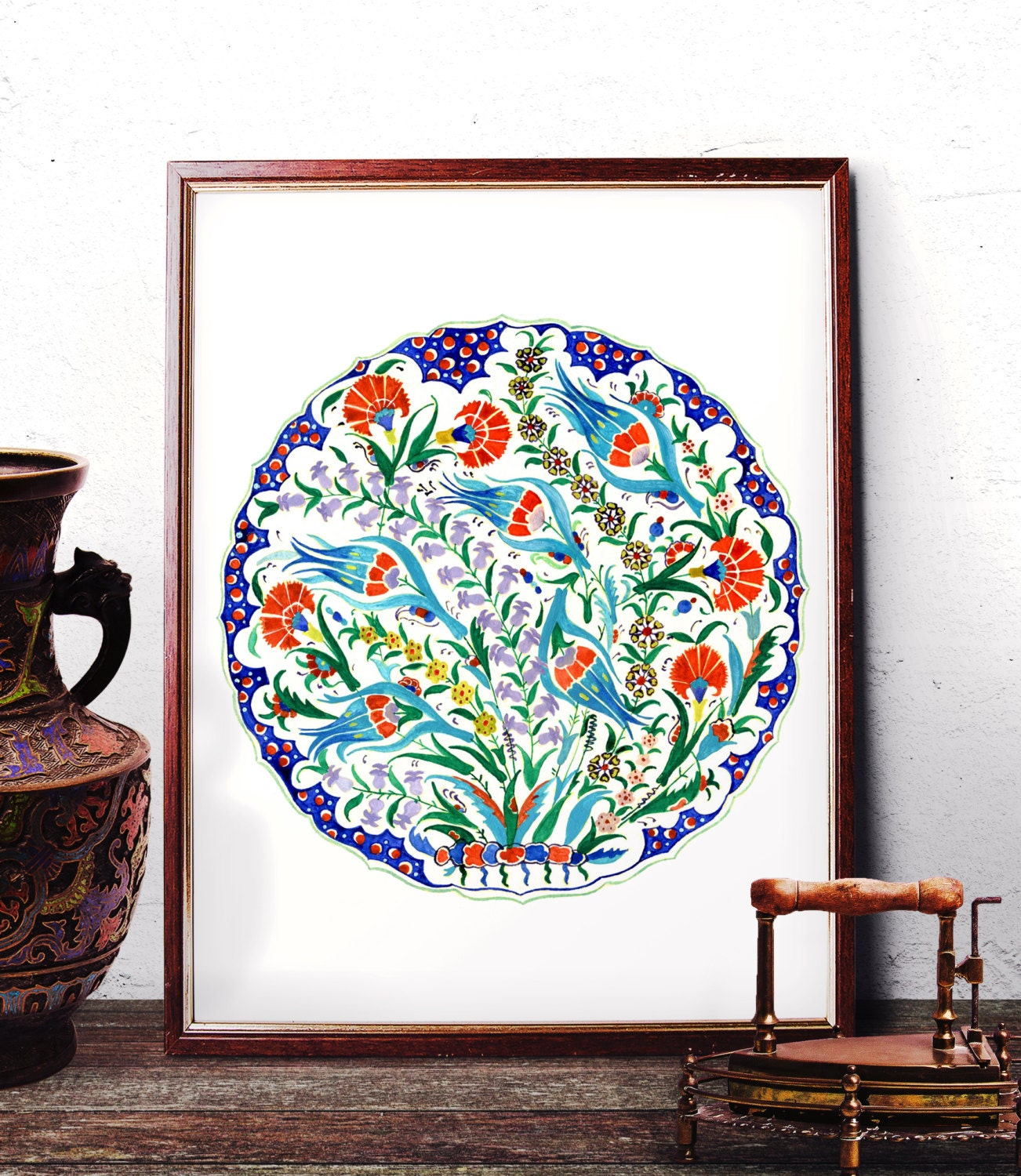Traditional Ottoman Tulip Watercolor Wall Art Turkish Floral: Traditional Iznik Blue Tulip Red Carnation Watercolor Art