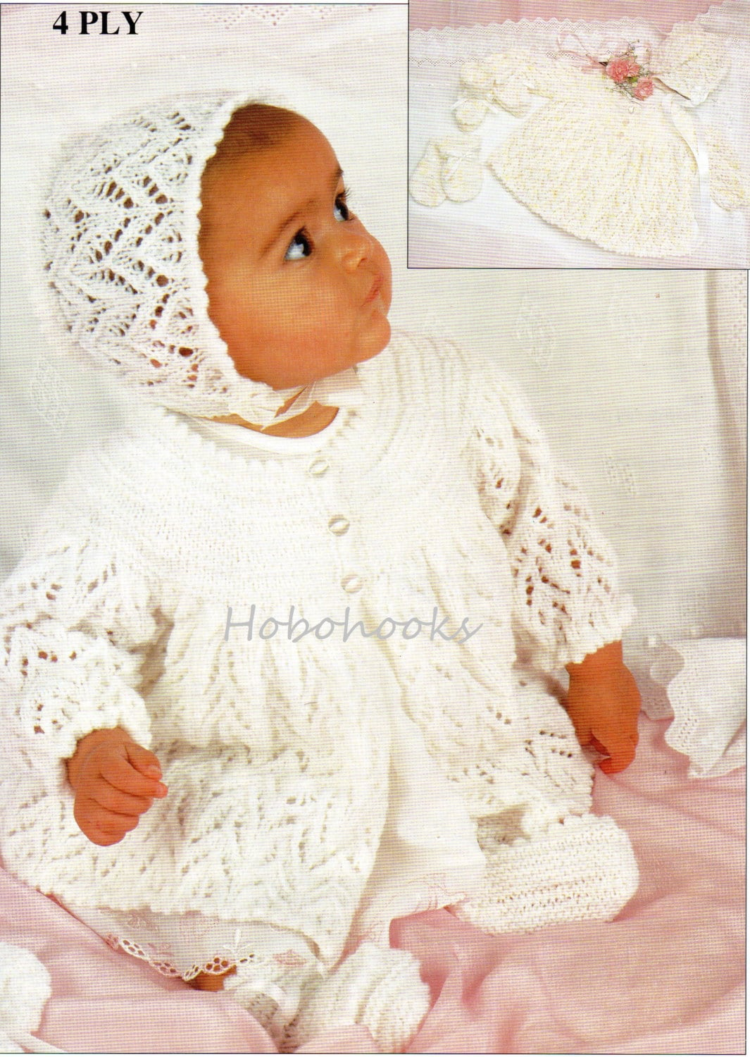 Knitting Patterns For Babies Matinee Coats : Baby knitting pattern baby set baby lacy matinee coat matinee