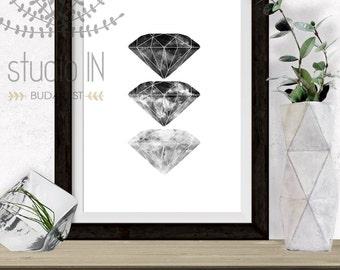 Diamond Printable, Modern Art, black and white printable, black ink diamond, Abstract Art Home Decor, minimalist printable, diamond print