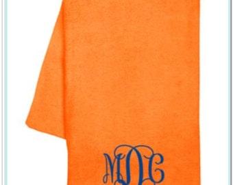 Monogrammed Velour Beach Towel