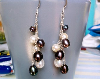 Sterling Silver drop Earrings, Black and White natural pearls
