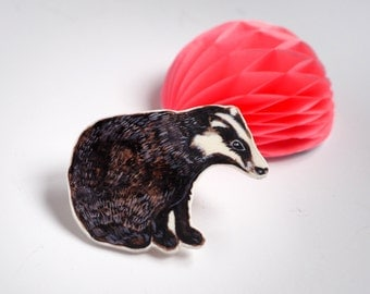 Badger Illustrated Brooch | Hand Drawn Silver Plated Brooch