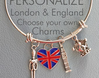 London England Travel Customize Inspired by charm bracelet, Big Ben, Union Jack, Phone Box, Palace Guard, adjustable bangle