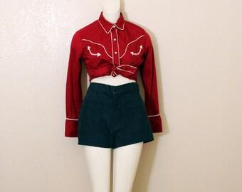 Vintage 70's High-Waisted Denim Jean Shorts, size Large