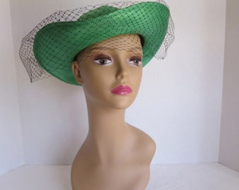 Vintage Green Straw Hat With Black Veil By Dajou