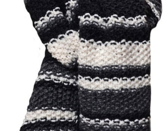 Hand Knit Scarf - Black Grey White Stripe Wool