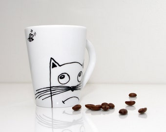 Porcelain cup Hand painted coffee cups Tazas de gato Hand painted funny mug Cat cups Taza White Tea cup Tea lover gift Cute Tea cup