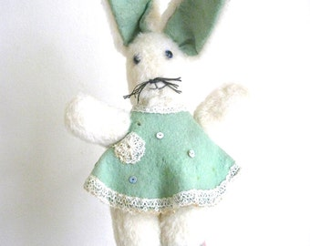 VINTAGE TOY RABBIT - well loved sweet vintage collectable bunny rabbit / white mohair, mint green felt dress & shoes