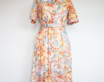 Vintage Jazzy Orange/Peach/Blue Tea Style Dress