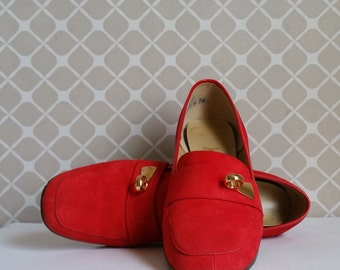 Vintage Red Suede Mod Heel Loafer Pumps by Geppetto Hemphill-Wells - Size 6