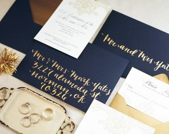 Custom Calligraphy, Gold Calligraphy, Wedding Calligraphy Invitation or Save the Date, Envelope Hand Lettering, Envelope Calligraphy