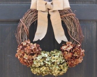 Rustic Fall Wreath, Fall Grapevine Wreath, Fall Door Wreath, Rustic Fall Decor, Fall Front Door Wreath, Brown & Green Wreath for Fall Decor