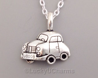 Car Necklace, Silver Car Charm Necklace, Car Jewelry, Boy Necklace, Travel Gift, Transportation Necklace, Friendship Jewelry Gift