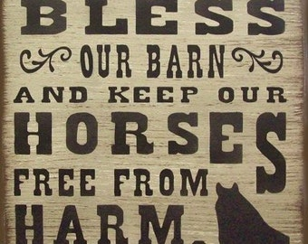 Bless Our Barn Western Horses Primitive Rustic Country Wood Sign Home Decor