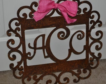 Three letter monogram frame made with metal, custom monogram sign, nursery monogram, personalized monogrammed frame