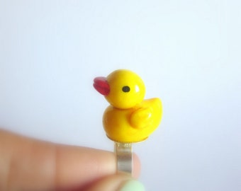 Free shipping,Rubber ducky ring,collectible rubber ducky,adjustable ring,yellow rubber ducky.
