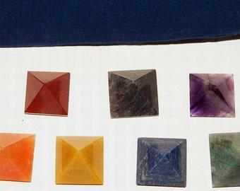 7 CHAKRA Stone PYRAMID CRYSTAL Set with Pouch, Reiki Energy Healing