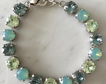 Swarovski Pacific Opal Crystal Bracelet,  Swarovski Green Tennis Bracelet, Chrysolite Crystal Bracelet, Indian Sapphire Crystal Bracelet