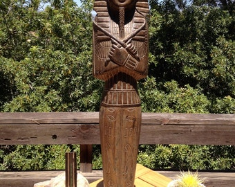 Egyptian Statue Solid wood, Rare and Beautiful, LARGE Carved Wood Egypt King, Primitive Pharaonic Art Piece, SERENE, SUBLIME, Mystical