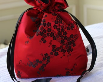 Small Knitting/Crochet Project Drawstring Bag - Japanese Cherry Blossom (Red and Black)