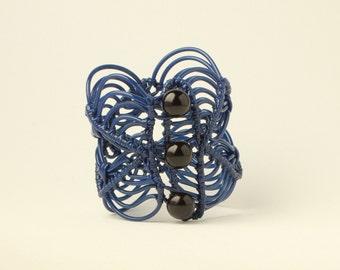 Light bracelet // Macrame cuff bracelet // Navy bracelet